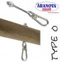 Set ganci in acciaio con moschettone per altalena da M 10 lungo 12 cm. (2 pz)