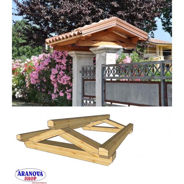 Copertura in legno per cancello o entrata pedonale in legno lamellare - Aranova Legno System  e ...