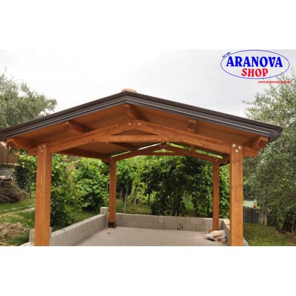 8b4aa60221 Gazebo Luve in legno lamellare in kit di montaggio - Aranova Legno ...